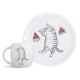 Plate and mug Cat with pizza