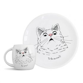 Plate and mug Surprised Cat