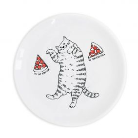 Cat with pizza Plate